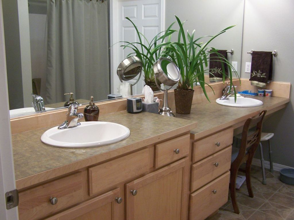 Accommodating bathroom counter heights and access.
